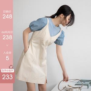 白色吊帶連衣裙法式小心機復古a字小白裙可鹽可甜小個子兩件套裝