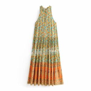 美美的背心式印花波西米亞大擺裙 歐美女裝新品度假風及踝長裙