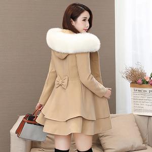 2019秋冬新款女装韩版中长款修身裙摆呢子大衣显瘦小个子毛呢外套