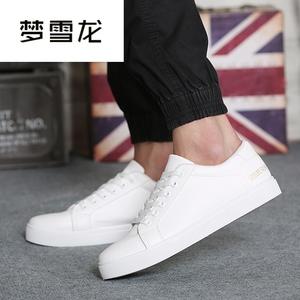 夢雪龍夏季素面膠粘鞋戶外休閑鞋平板男士夏季純白色平底鞋N036