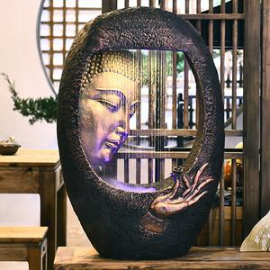中式客厅会所佛像流水水景办公室摆件茶馆办公室风水招财装饰摆设