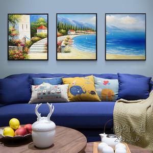 地中海风景油画纯手绘工欧式客厅沙发背景墙组合三联装饰画挂壁画