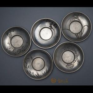工艺精细日本回流茶道具 名堂口纯锡老杯托
