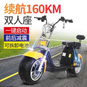 哈雷电瓶车成人男女宽大轮胎滑板车踏板双人电动摩托车跑车可拆卸