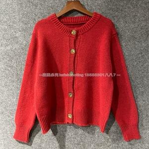 韓國進口東大門2020冬季新款 圓領大紅色紐扣毛衣開衫女短款百搭