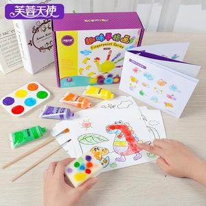 儿童手指画颜料水彩画涂鸦套装无毒可水洗宝宝幼儿园印泥图片