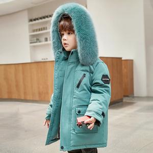 2020新款兒童羽絨服男童中長款洋氣中小童寶寶加厚冬裝外套中大童