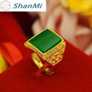 越南沙金戒指男士鍍24k黃金色歐幣仿真鑲瑪瑙寶鉆石福發財開口環