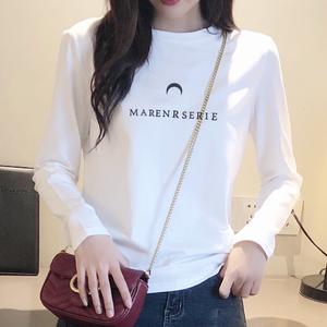 2019秋装白色t恤女长袖纯棉宽松字母圆领韩版百搭修身显瘦打底衫