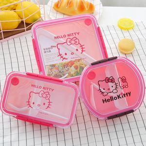 日式分格微波炉塑料饭盒儿童学生单层便当盒长方形圆形保鲜水果盒