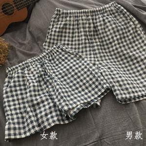 夏季男女情侶睡褲褲子短褲純棉雙層紗布格子簡約休閑起居服日系