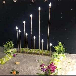 2018新款婚庆T台龙珠路引金色银色10头多头带LED灯泡婚礼布置用品