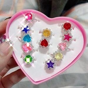 禮物女寶兒童女童韓版小公主戒指女粉色閃光手環愛心花型水晶