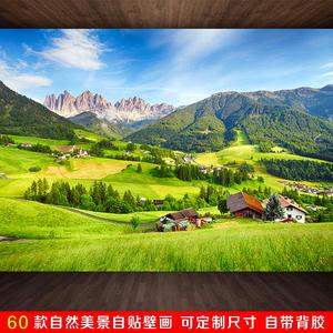 壁纸自粘卧室温馨电视背景墙山水风景大自然客厅装饰3d立体墙贴画