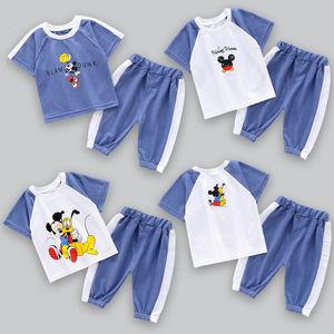 兒童套裝男童女童短袖夏裝寶寶衣服洋氣中小童運動休閑七分褲套裝