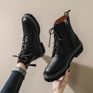 马丁靴女英伦风2019秋冬新款百搭圆头侧拉链前系带粗跟短筒短靴女