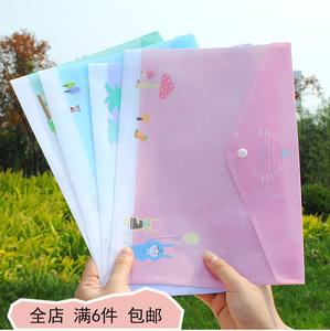 韩国清新透明文件袋可爱收纳袋卡通文件夹资料袋学生文具批发