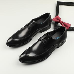 欧版潮流皮鞋英伦尖头皮鞋男商务正装系带真皮婚鞋休闲鞋发型师鞋