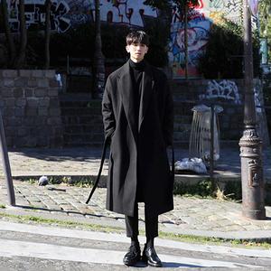 日系風衣男過膝長款加厚保暖呢大衣男潮男士寬松呢外套毛呢子韓版