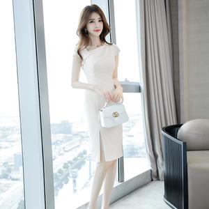 2020流行夏天裙子氣質時尚性感洋氣修身顯瘦開叉包臀禮服連衣裙女