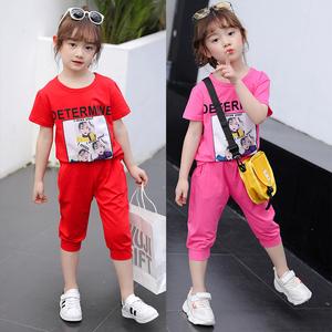 女童夏季2019新款洋气时髦两件套装短袖中大童时尚潮小女孩运动装