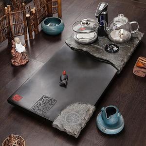 石福記 烏金石茶盤家用石茶臺帶電熱爐燒水石托盤排水整塊天然石