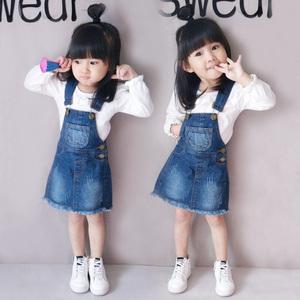 女童秋装牛仔背带裙1-3-5岁女宝宝吊带裙2019韩版儿童小孩4连衣裙