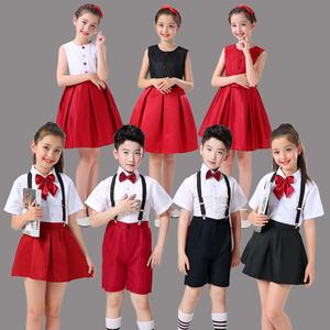 六?#27426;?#31461;演出服小学生背带裤大合唱团朗诵表演服装男童女童合唱服