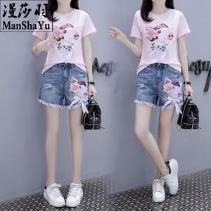 12大童13少女14歲初中學生15韓版19夏季T恤牛仔短褲洋氣時尚套裝