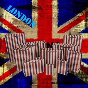 英伦风条纹牛皮纸袋定做男女时尚服装手提礼品袋鞋盒香水面膜包装