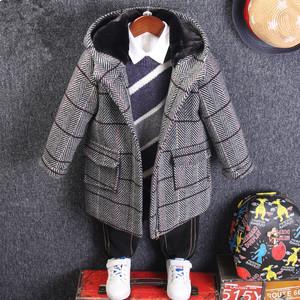 兒童毛呢外套男童2019新款韓版3小童妮子8歲寶寶秋冬格子呢子大衣