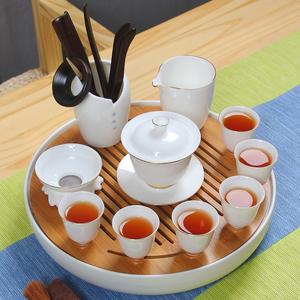 德化描金白瓷茶具整?#23376;?#29943;盖碗茶杯家用办公功夫茶具简约陶瓷茶盘
