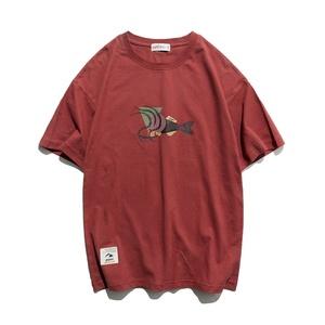 幻想鱼?#21450;?#21360;花 男生百搭三色T恤  纯棉圆领短袖