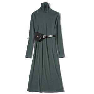 迦尔伽2019秋季新款高领中长款长袖连衣裙送腰包1939111