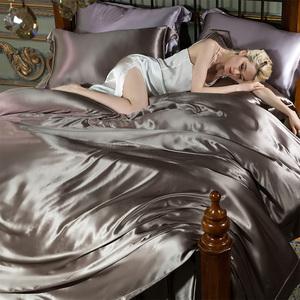 纯色真丝四件套100%双面32姆米桑蚕丝高级定制裸睡丝绸缎床上用品