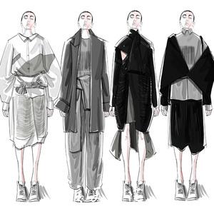 服装设计效果图代画ps电脑手绘平面款式图时装服装毕设效果图代画图片