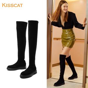 接吻猫2019秋冬新款过膝长靴女羊绒厚底低跟平底长筒靴时尚高筒靴