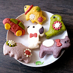 兔子魚兒童輔食 3包包郵手工制作蔬菜汁和面 無添加彩色卡通饅頭