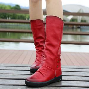 森系女靴子 复古及膝高筒靴秋冬季女鞋 真皮马丁靴 高跟平底长靴