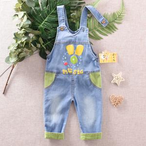 宝宝背带裤春秋男童0一1-3岁女童春装儿童软牛仔单裤男宝宝裤子薄