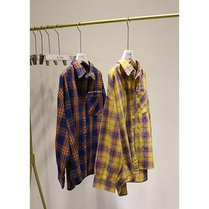 外贸大工厂品质!舒适又实穿。宽松女装格子衬衫显瘦文艺长袖衬衣