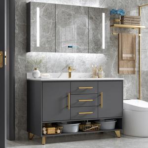 現代簡約雙盆輕奢巖板浴室柜組合落地式洗臉洗手池洗漱臺盆衛生間