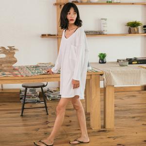 日系睡衣女夏长袖纯棉韩版性感全棉春季宽松大码白色睡裙家居服