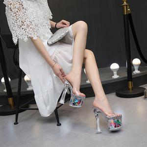 恨天高粗跟鞋女拖鞋18cm20公分超高跟性感凉拖走秀水晶透明拖鞋夏
