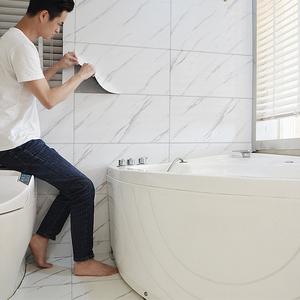 衛生間瓷磚貼紙墻面大理石裝飾客廳地板廚房地貼防水墻貼墻紙自粘