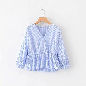 外贸原单韩版2019新款V领蓝白条纹拼接系带长袖套头衬衫女