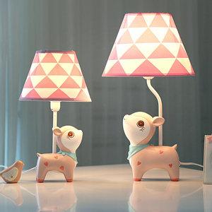 小鹿可调光LED遥控台灯 卧室床头灯?#33821;?#28010;漫 儿童房公主ins少女