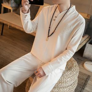 中国风棉麻套装男居士服禅修服 男禅意打坐衣服茶人服亚麻汉服男