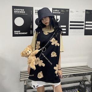 殺死喜歡設計感小熊印花背心女喪系暗黑寬松無袖內搭外穿ins上衣