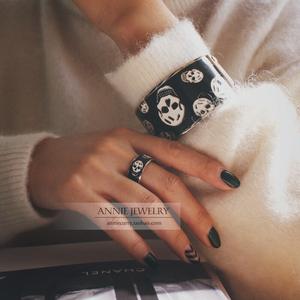 英国鬼设计师镇店收藏v质感质感视觉情侣款骷髅戒指珐琅盛宴简杰设计师图片